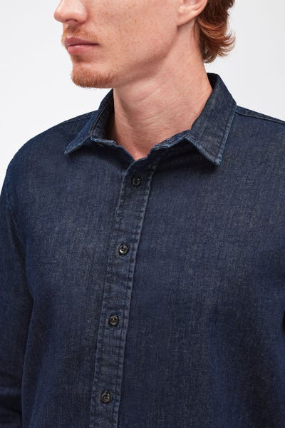 PLAIN SHIRT LUXE PERFORMANCE RINSE BLUE