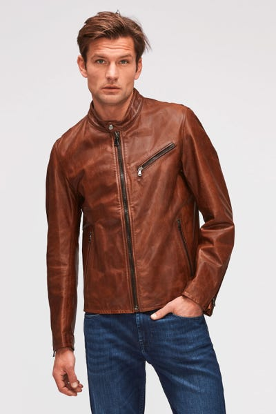 BIKER JACKET LEATHER BROWN