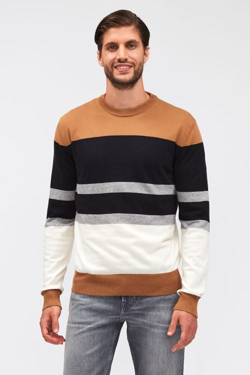 CREW NECK KNIT WOOL CASHMERE STRIPY