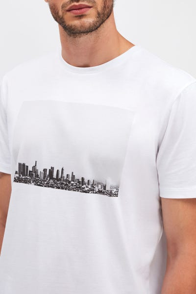 GRAPHIC TEE COTTON LA DOWNTOWN WHITE