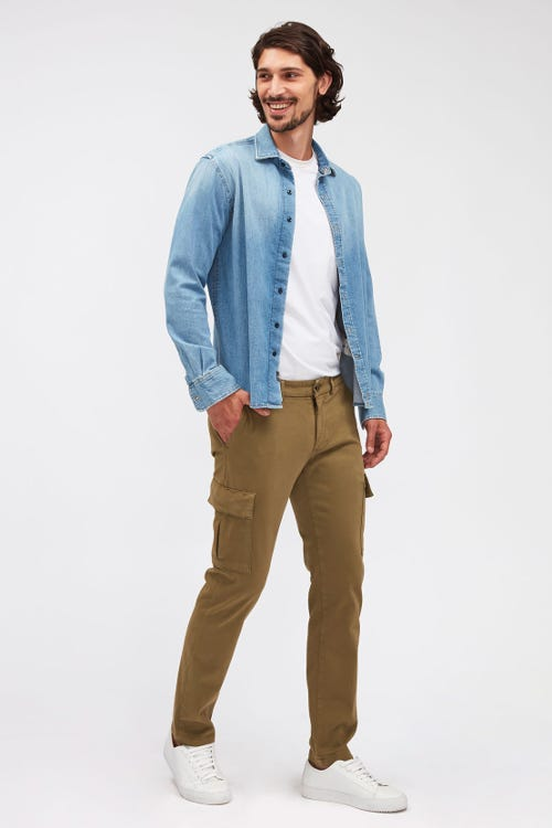 SLIMMY TAPERED CARGO CHINO LUXE PERFORMANCE SATEEN LIGHT ARMY