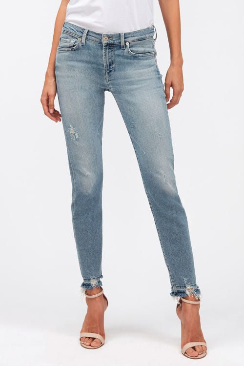 THE SKINNY CROP LUXE VINTAGE SKYWALK DISTRESSED WITH DISTRESSED HEM