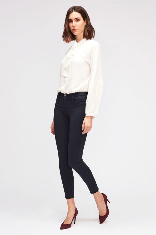 7 For All Mankind - High Waist Skinny Crop Sateen Navy