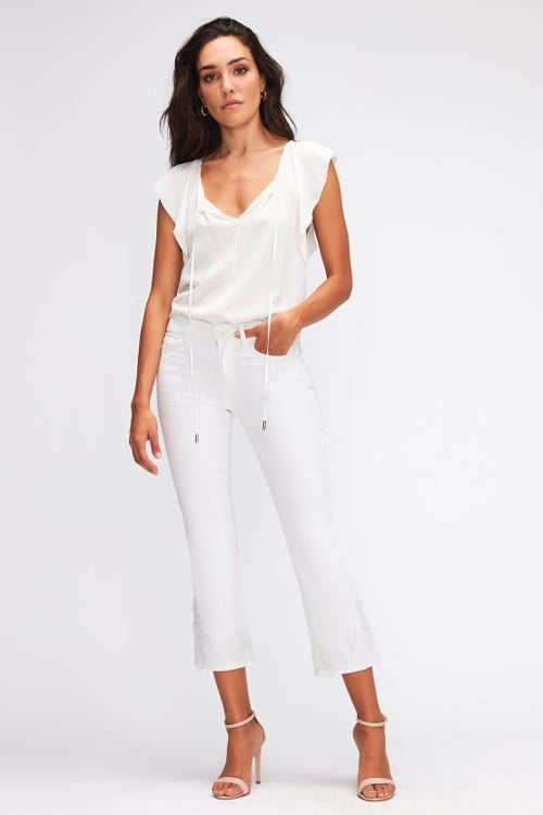 CROPPED BOOT PURE WHITE WITH EMBROIDERED FLOWERS