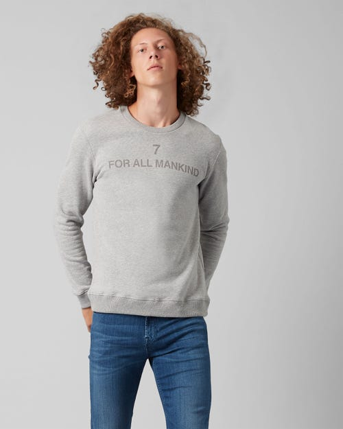 CREW NECK SWEAT COTTON LOGO GREY MELANGE