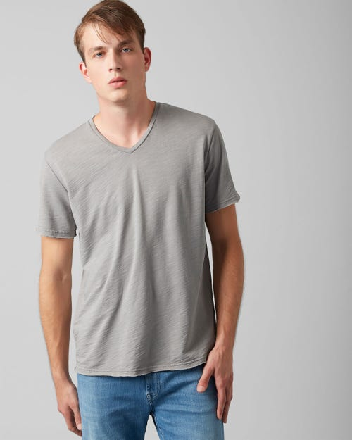 7 For All Mankind - V-Neck T-Shirt Cotton Raw Edge Grey Melange