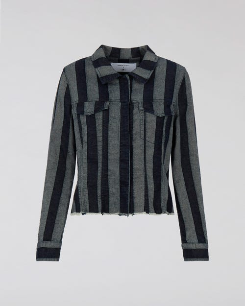 7 For All Mankind - Fitted Jacket Striped Denim M'A X 7Fam