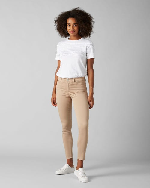 7 For All Mankind - High Waist Skinny Crop Sateen Latte