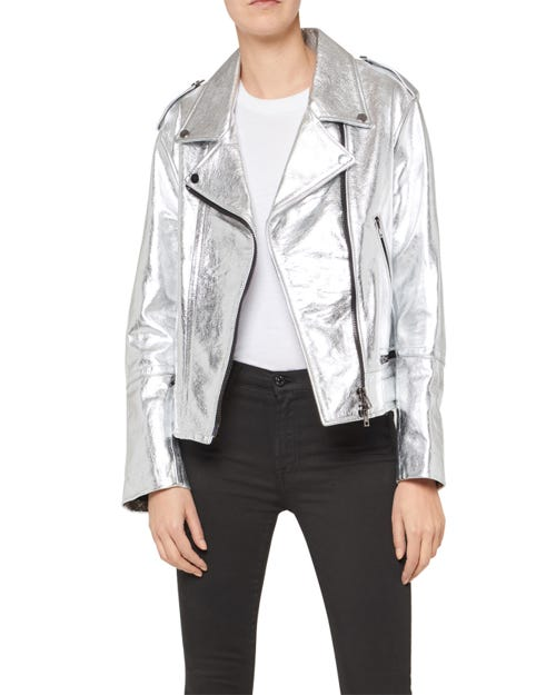 MOTO JACKET LEATHER GUN METAL