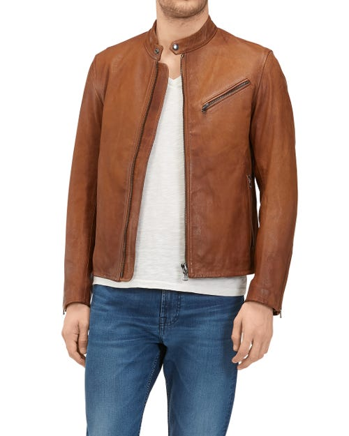 7 For All Mankind - Biker Jacket Leather Deep Brown