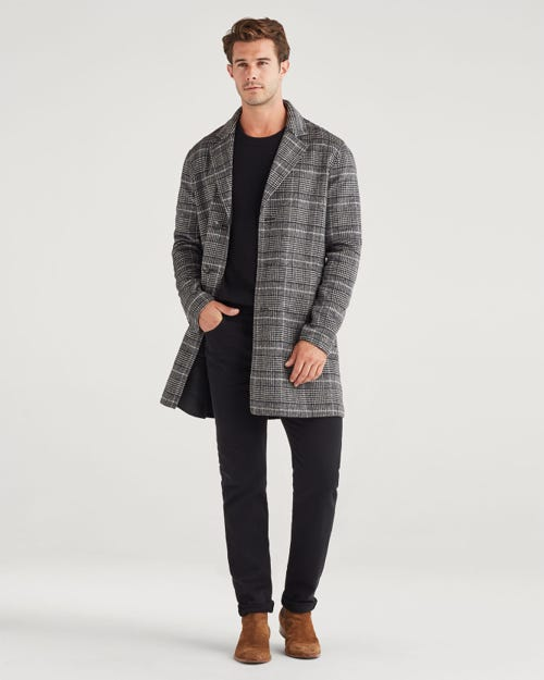 7 For all Mankind - Reversible Overcoat In Glen Plaid Charcoal