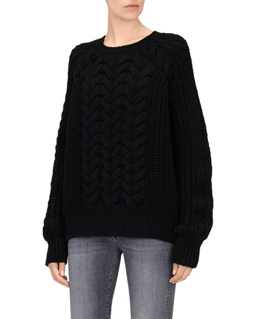 CHUNKY CABLE KNIT SWEATER WOOL BLACK