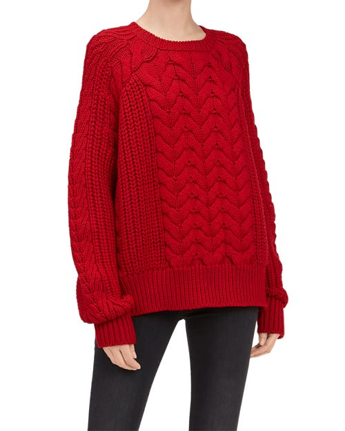 CHUNKY CABLE KNIT SWEATER WOOL FLAME
