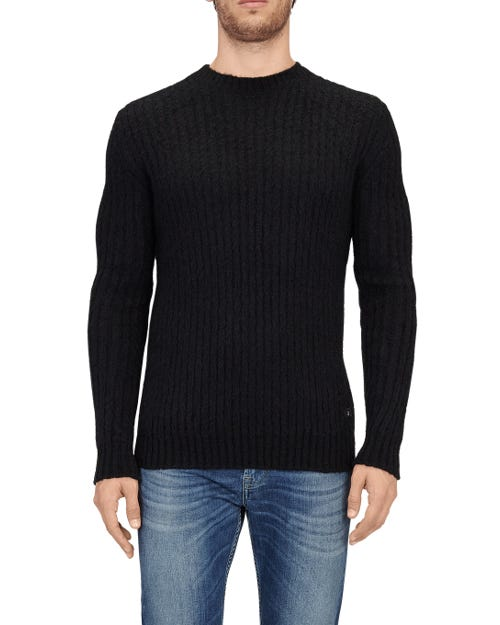 CREW NECK KNIT MIX MOHAIR BLACK