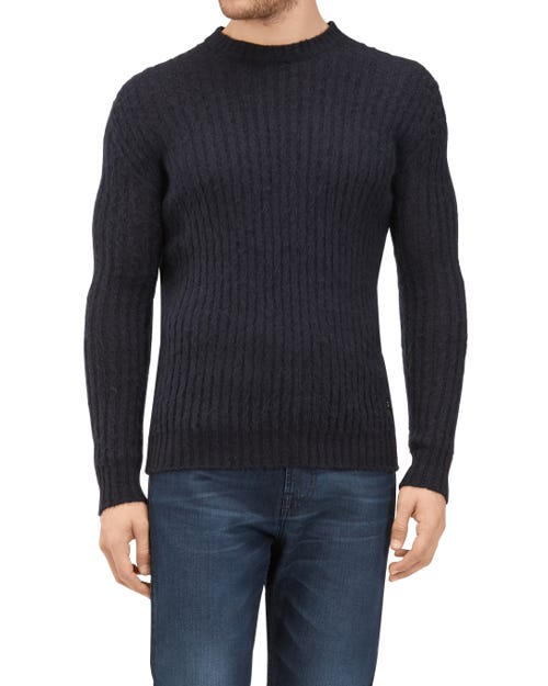 CREW NECK KNIT MIX MOHAIR INK BLUE