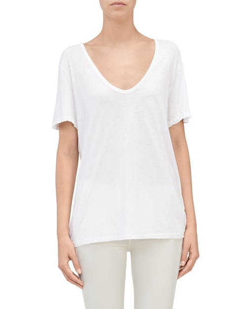 CURVED NECK TEE WHITE