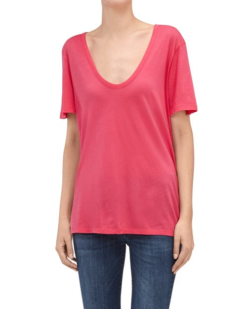 7 For All Mankind - Curved Neck Tee Hot Pink
