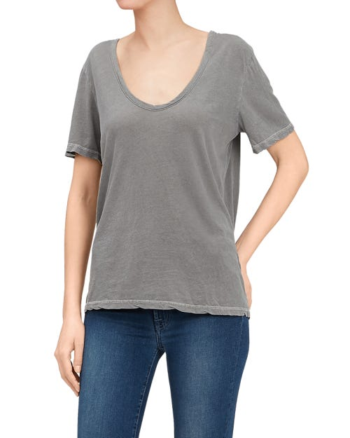 CURVED NECK TEE FEATHERWEIGHT JERSEY BURN OLIVE