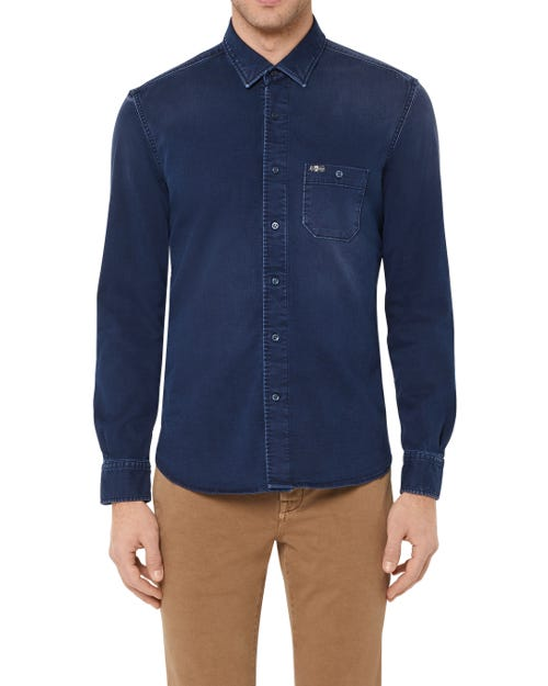 BUTTON DOWN SHIRT STRETCH DENIM DARK BLUE