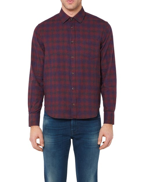 CLEAN SHIRT COTTON CHECK BURGUNDY AND BLUE