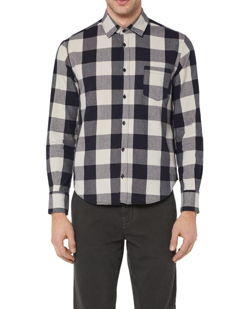 CLEAN SHIRT COTTON CHECK BLACK AND WHITE