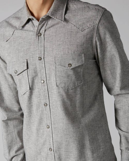 7 For All Mankind - Western Shirt Japan Cotton Grey