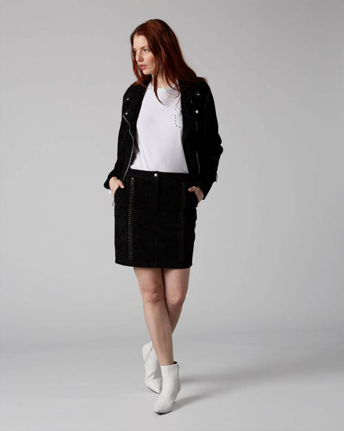 7 For All Mankind - Braided Skirt Suede Black