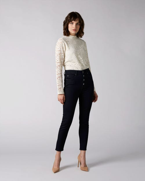 7 For All Mankind - Aubrey Slim Illusion Darkness With Exposed Buttons