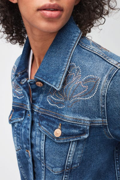 MODERN TRUCKER LUXE VINTAGE REJOICE WITH STUDDED FLOWERS BACK