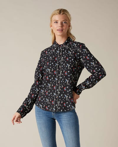 WESTERN SHIRT VISCOSE BLACK WITH DITSY FLOWERS