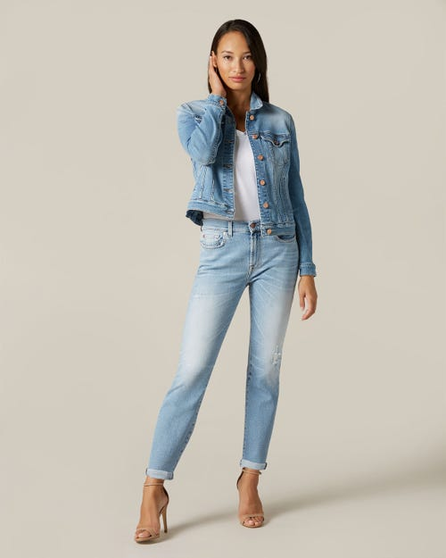 RELAXED SKINNY LUXE VINTAGE BLUE EYES WITH RAW CUT AND DISTRESSED