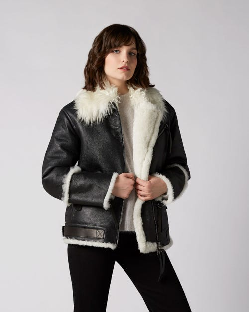 7 For All Mankind - Aviator Jacket Shearling Black White Sherpa