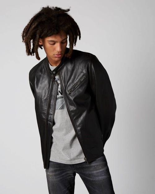 7 For All Mankind - Biker Jacket Leather Black
