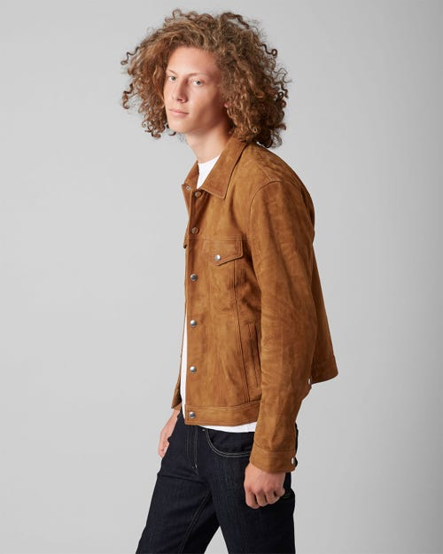 7 For All Mankind - Trucker Jacket Suede Camel