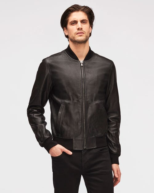 BOMBER JACKET LEATHER BLACK