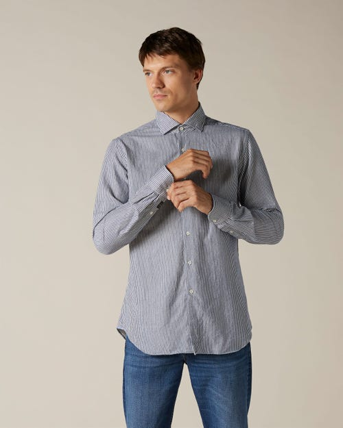 STRIPE SHIRT FLANNEL MÈLANGE BLUE STRIPES