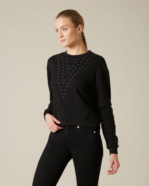 STUDDED SWEATSHIRT COTTON BLACK