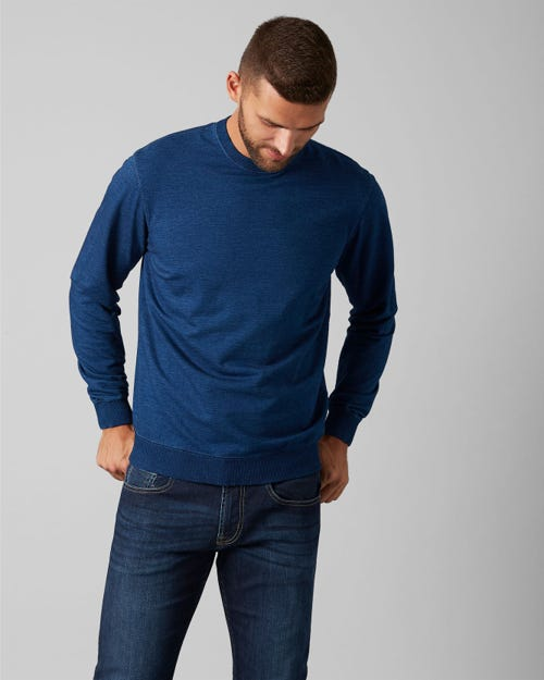 7 For All Mankind - Crew Neck Sweat Cotton Dark Indigo