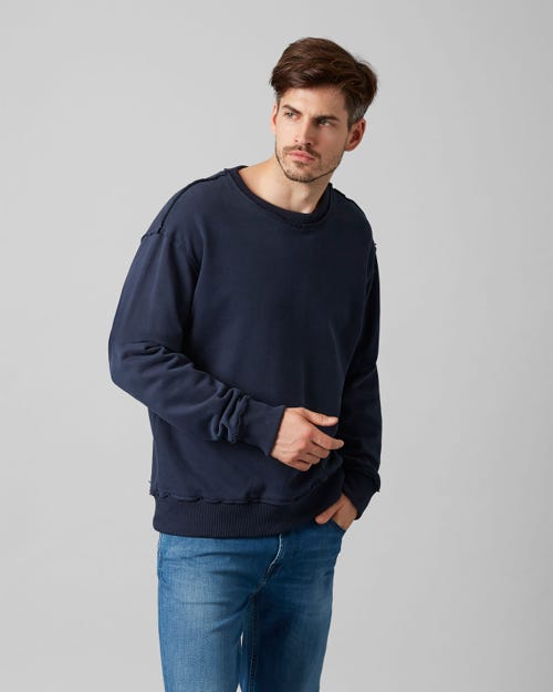 7 For All Mankind - Crew Neck Sweat Cotton Raw Edge Midnight Blue