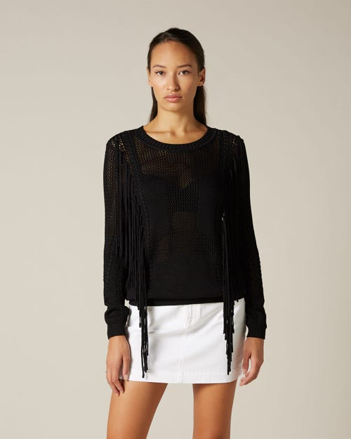 V-FRONT FRINGE SWEATER V-FRONT FRINGE SWEATER BLACK