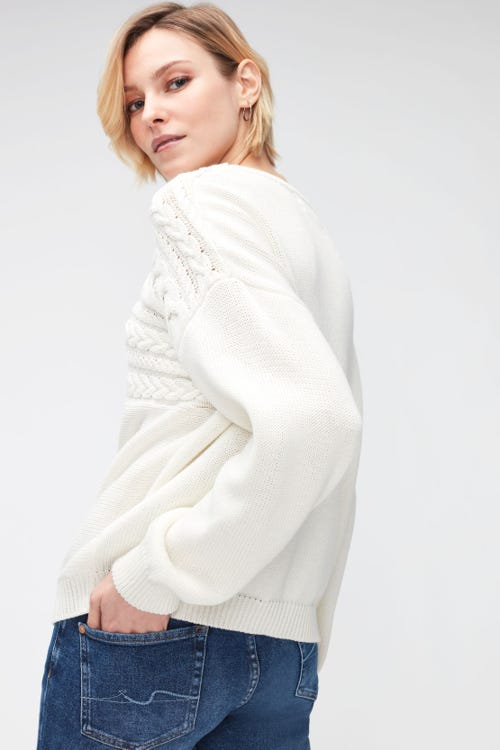 CABLE KNIT COTTON WOOL  WINTER WHITE