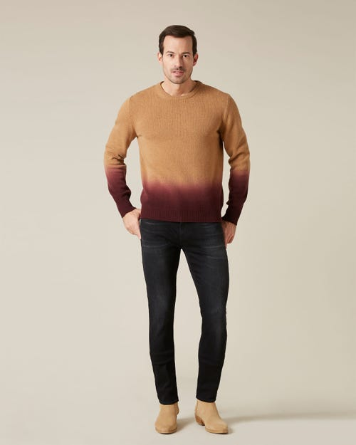 CREW NECK KNIT OVERDYED CAMEL & BURGUNDY