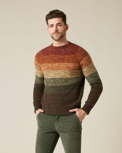 CREW NECK KNIT MERINO WOOL MULTICOLOUR FOREST ARMY AND BURGUNDY