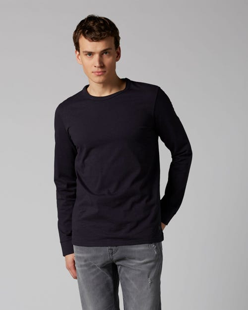 7 For All Mankind - Long Sleeve Tee Heavy Jersey Navy