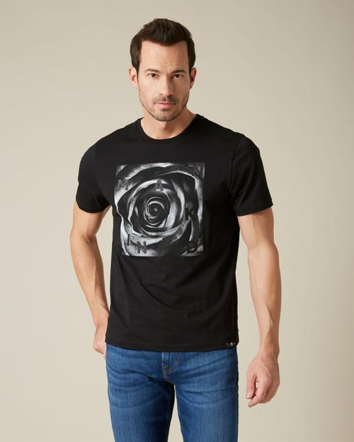 GRAPHIC TEE COTTON ROSE PRINT WHITE