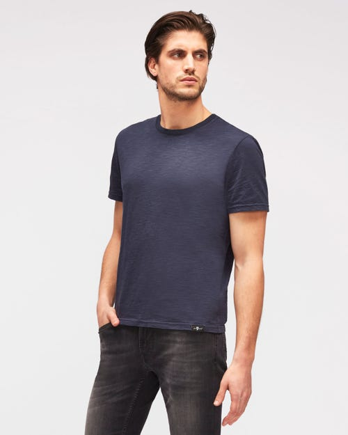 T-SHIRT SLUB NAVY BLUE