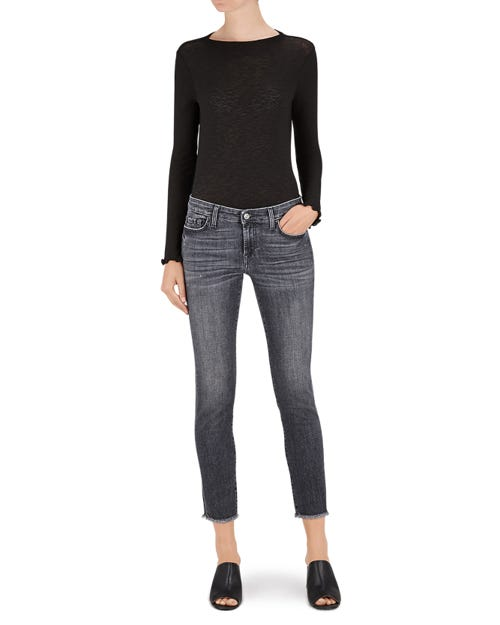 PYPER CROP SLIM ILLUSION NIGHT SHADOW FRAYED HEM