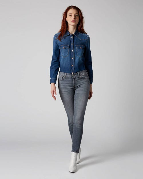 7 For All Mankind - Mid Rise Roxanne Crop Slim Illusion Drifted