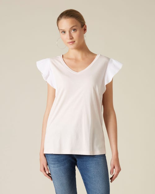 RUFFLE V NECK TEE CUTIL RUFFLE ON SLEEVES PINK