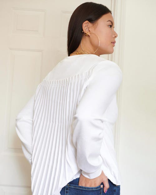 PLEATED U NECK TEE CUTIL PLEATED BACK WHITE